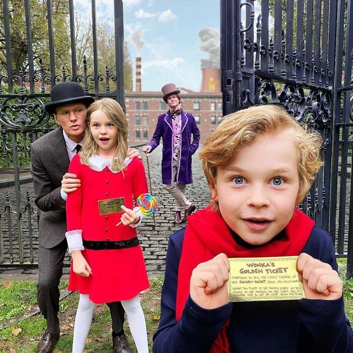 Neil Patrick Harris, David Burtka y sus hijos disfrazados como Willy Wonka y la fábrica de chocolates