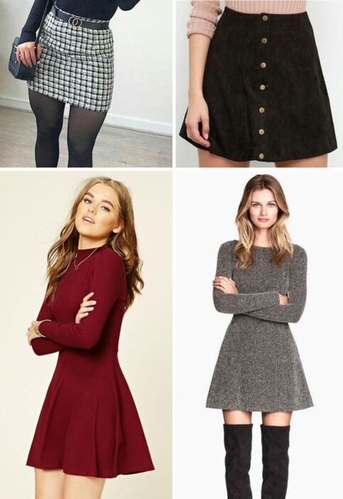 Collage of images of girls wearing outfits where skirts and dresses stand out