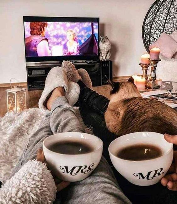 Manos de mujer y hombre toman tazas de café mientras ven la televisión y en sus piernas está acostado un gato café con orejas negras