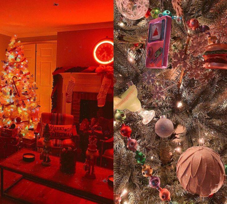 Decoración navideña en la casa de Gigi Hadid con luces rojas tenues