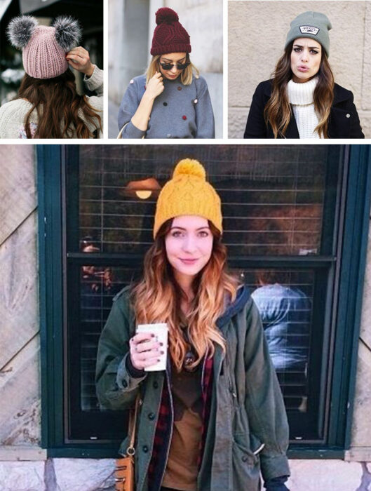 Collage of images of girls wearing outfits where winter hats stand out