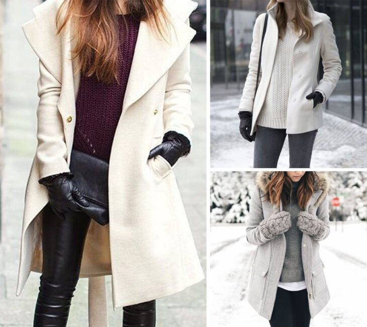 Collage of images of girls wearing outfits where gloves stand out