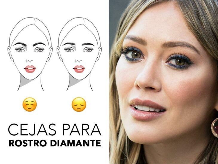 Hilary Duff smiling and showing her diamond face brows; Quick guide to highlight your eyebrows according to the shape of your face