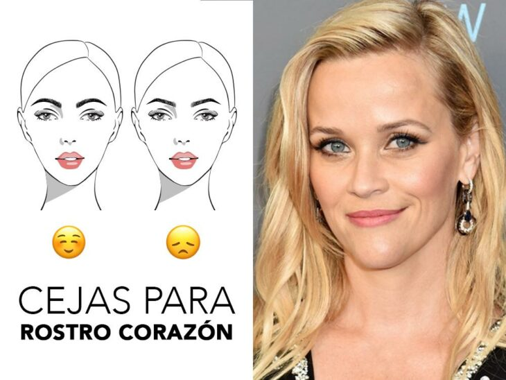 Reese Whiterspoon smiling and showing her eyebrows on her heart face; Quick guide to highlight your eyebrows according to the shape of your face