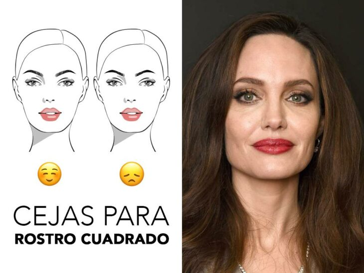 Angelina Jolie smiling and showing her eyebrows; Quick guide to highlight your eyebrows according to the shape of your face
