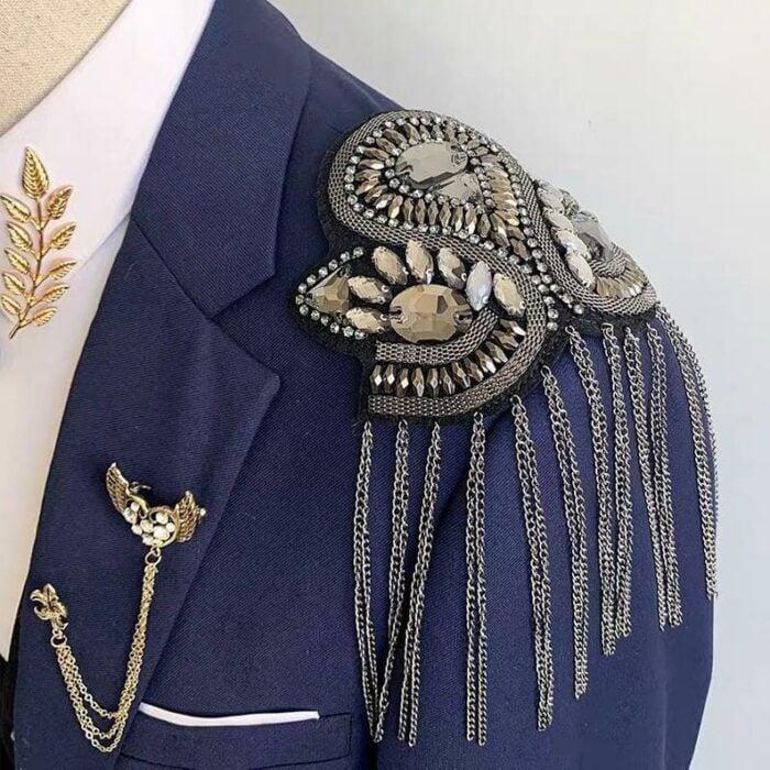 Sailor style shoulder pads on royal blue jacket; Shoulder pads to decorate your clothes