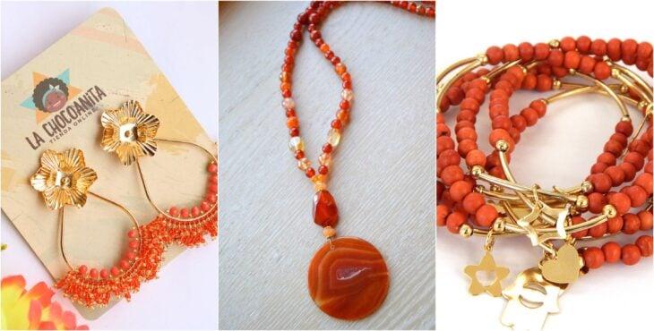 Accesorios en color naranja, collar, aretes, pulseras; Ideas para usar color naranja en tu outfit