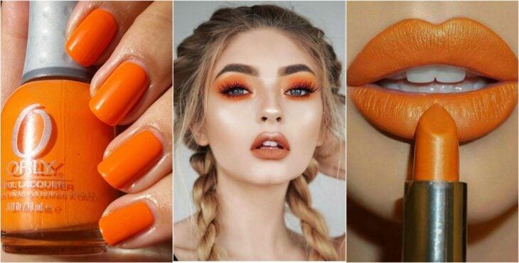 Maquillaje en tonos naranja, labial, sombras, esmalte; Ideas para usar color naranja en tu outfit