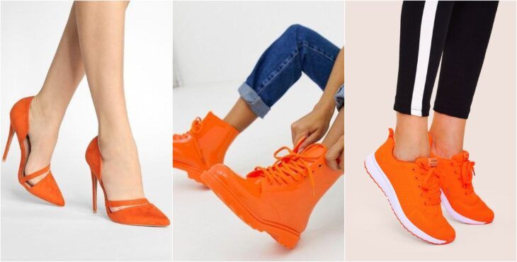 Zapatos en tonos naranjas, botas, zapatillas, tenis; Ideas para usar color naranja en tu outfit