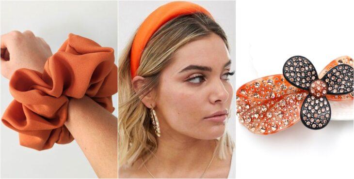Accesorios para el cabello en tonos naranja, diadema, pasador; Ideas para usar color naranja en tu outfit