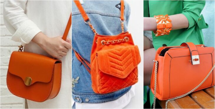 Bolsos en colro naranja, mochila, cartera; Ideas para usar color naranja en tu outfit