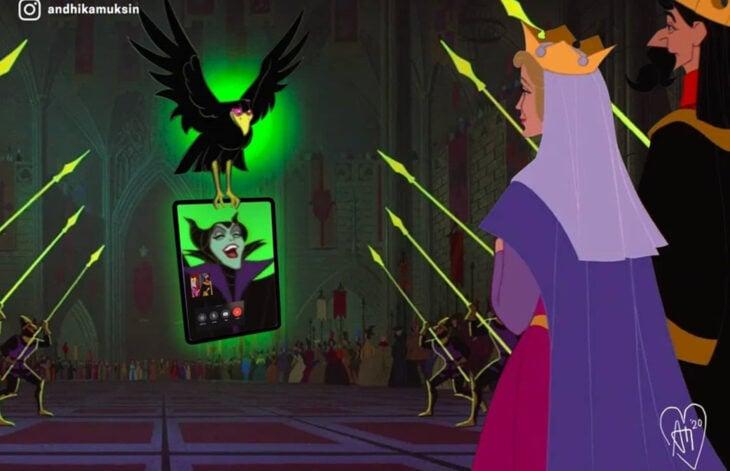 Artista Andhika Muksin ilustra personajes de Disney en tiempos modernos; La bella durmiente, Maléfica y su cuervo con los reyes