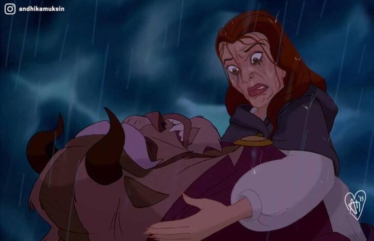 Artista Andhika Muksin ilustra personajes de Disney en tiempos modernos; La bella y la bestia, Bestia desmayado bajo la lluvia y Bella con maquillaje corrido