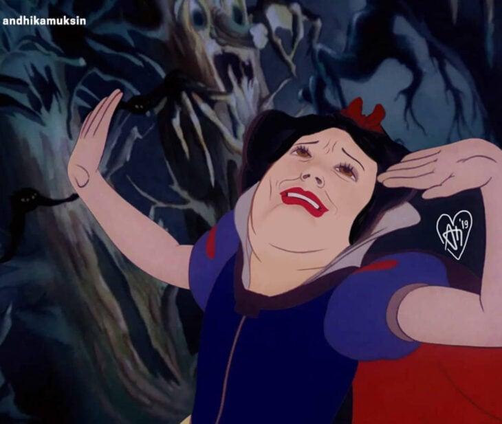 Artista Andhika Muksin ilustra personajes de Disney en tiempos modernos; Blancanieves corriendo en el bosque