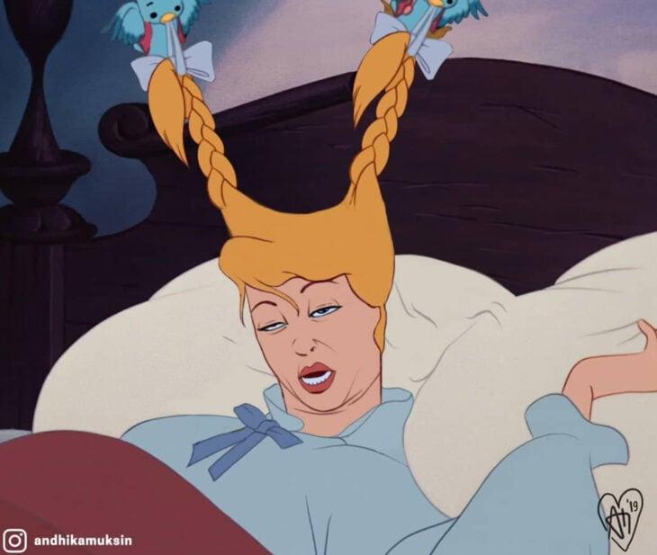 Artista Andhika Muksin ilustra personajes de Disney en tiempos modernos; pájaros despertando a Cenicienta