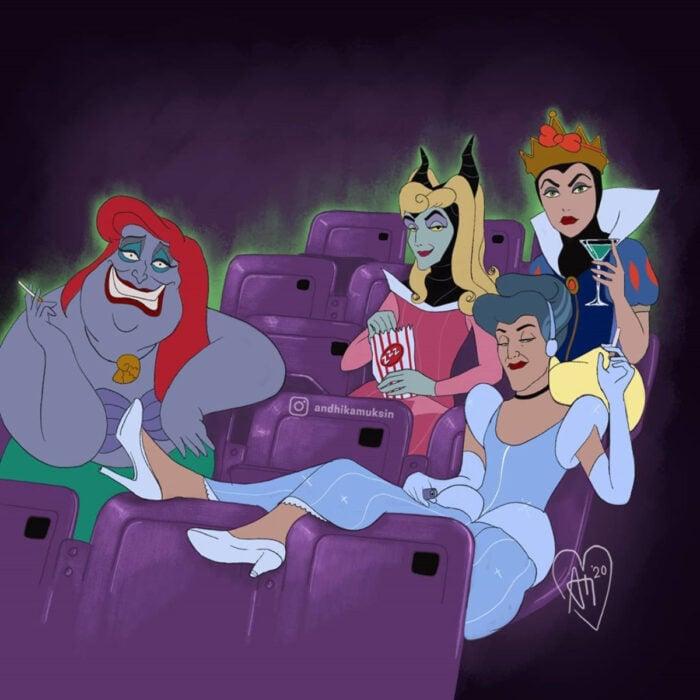Artista Andhika Muksin ilustra personajes de Disney en tiempos modernos; La Sirenita, La bella durmiente, Úrsula disfrazada de Ariel, Lady Tremaine vestida de Cenicienta, Maléfica de Aurora y la Reina Grimhilde de Blancanieves, villanas y brujas en Halloween