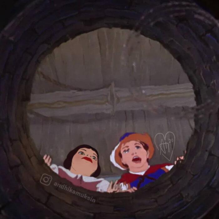 Artista Andhika Muksin ilustra personajes de Disney en tiempos modernos; princesa Blancanieves y príncipe Florian cantando en el pozo
