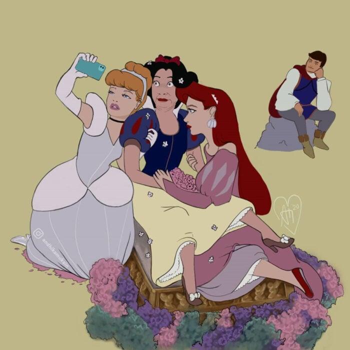 Artista Andhika Muksin ilustra personajes de Disney en tiempos modernos; Cenicienta, Blancanieves, Ariel, La Sirenita, tománcose una selfie mientras el príncipe Florian las espera