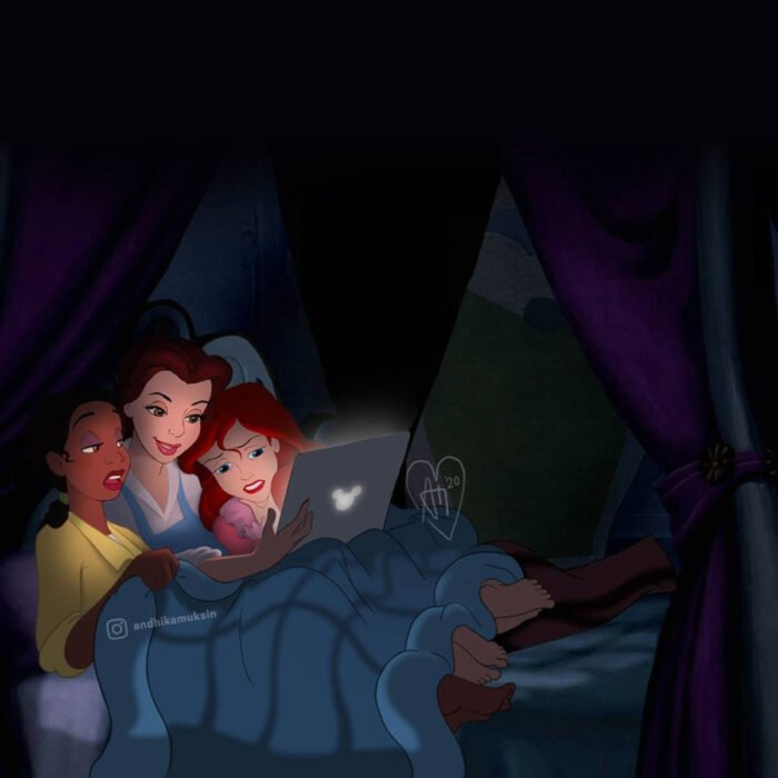 Artista Andhika Muksin ilustra personajes de Disney en tiempos modernos; Tiana, Bella y Ariel viendo películas en laptop; La princesa y el sapo, La bella y la bestia, La sirenita