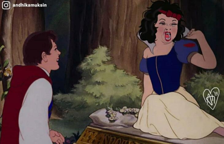 Artista Andhika Muksin ilustra personajes de Disney en tiempos modernos; Blancanieves recién levantada y despierta, despeinada, príncipe Florian