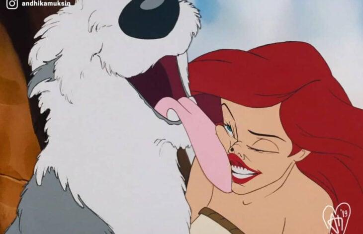 Artista Andhika Muksin ilustra personajes de Disney en tiempos modernos; La sirenita, Ariel con Max, perro viejo pastor inglés