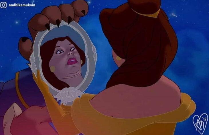 Artista Andhika Muksin ilustra personajes de Disney en tiempos modernos; La bella y la bestia, Bella mirándose en el espejo con su vestido amarillo
