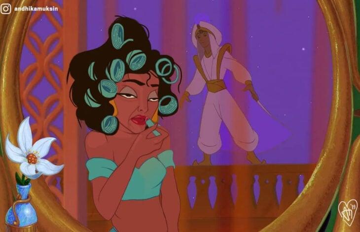 Artista Andhika Muksin ilustra personajes de Disney en tiempos modernos; Aladdín, Jasmín con tubos en la cabeza, arreglándose para cita con príncipe
