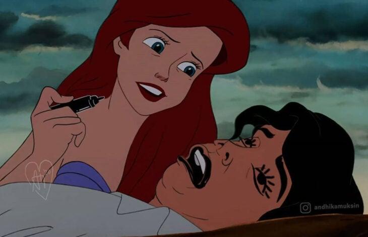 Artista Andhika Muksin ilustra personajes de Disney en tiempos modernos; La Sirenita, Erik desmayado a la orilla de la playa y Ariel borroneando su cara con plumón de manera graciosa