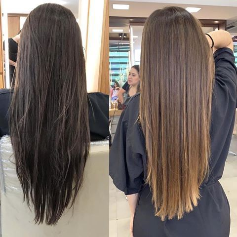 Before and after dark to brown and straight hair