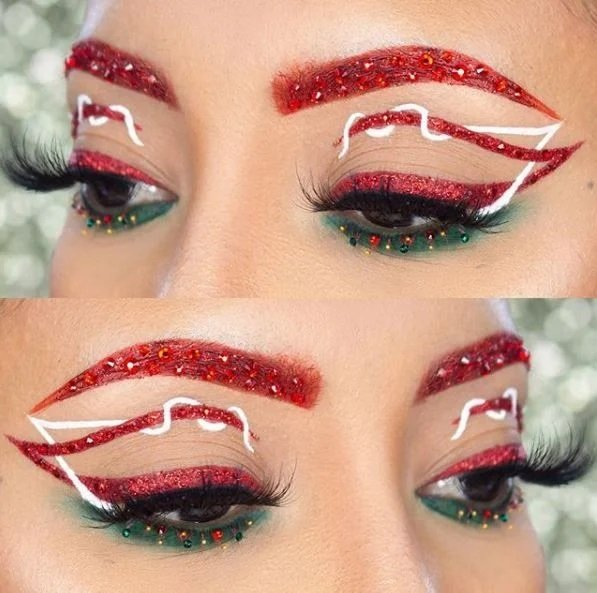 Girl with double lining in red and white; Cute makeup to celebrate Christmas