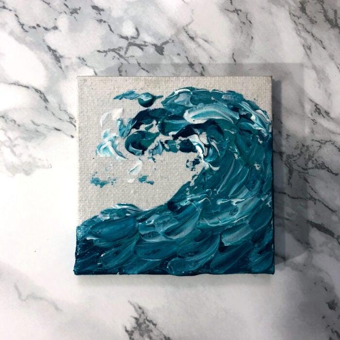 Minipintura en lienzo pequeño al óleo de ola de mar