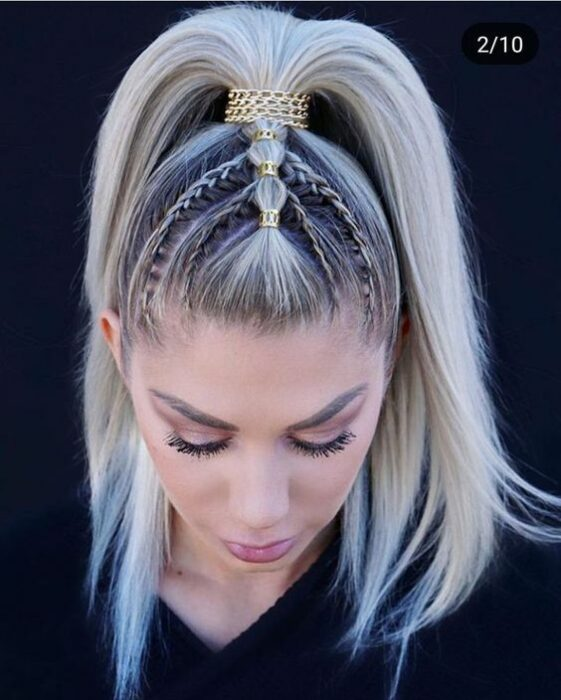 Girl with rings in the center in a high ponytail hairstyle; Hairstyles with hoops