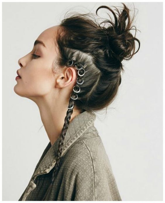 Girl with bun hairstyle and a side braid; Hairstyles with hoops