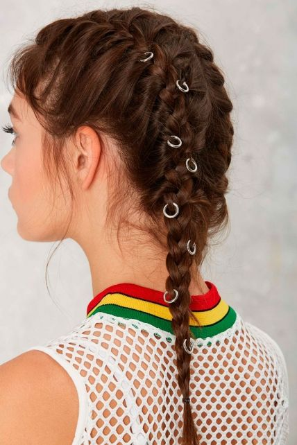 Girl with double braid and rings; Hairstyles with hoops