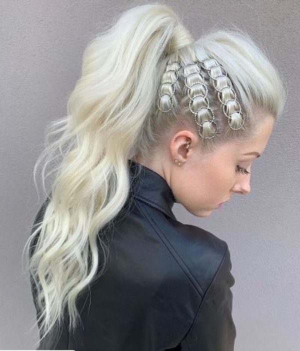 Girl with a high ponytail and braided rings; Hairstyles with hoops