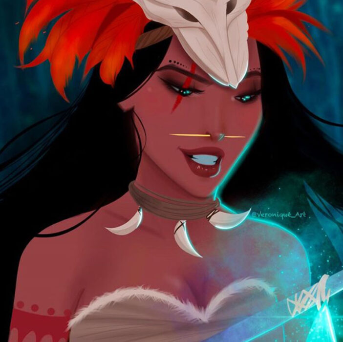 Princesa Pocahontas con atuendo de villana