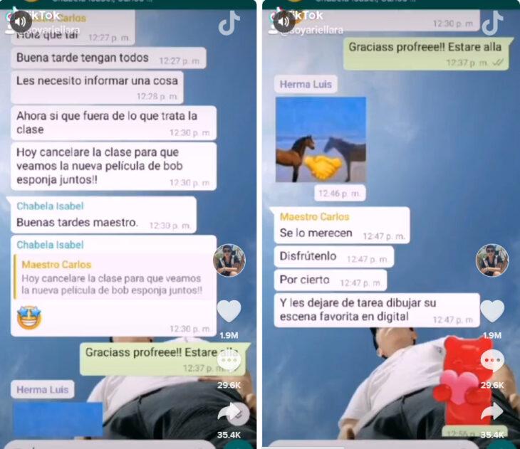 Screen shot de la conversación de WhatsApp del profesor Carlos con sus alumnos para ver la película