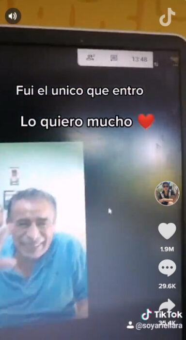 Screen Shot del video del alumno del profesor Carlos cuando estaban ellos dos viendo la película