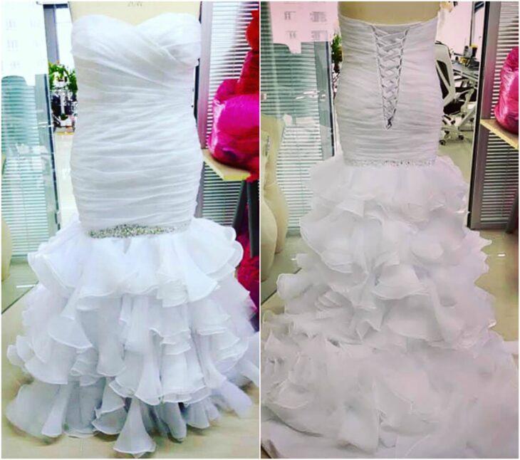 vestido de novia sobre maniquí; Se queja de su vestido de novia y se lo había puesto mal