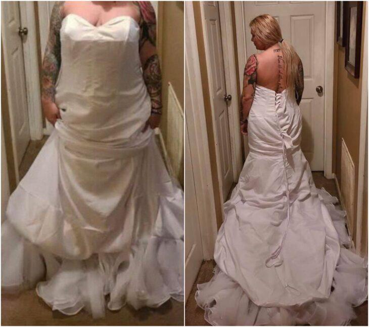 Chica mostrando su vestido de novia; Se queja de su vestido de novia y se lo había puesto mal