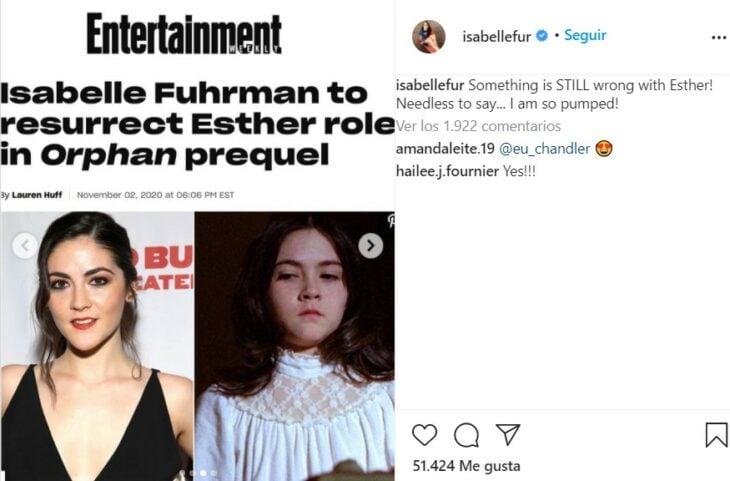 Estado en el instagram de Isabelle Fuhrman en el que habla de la secuela de la película La Huérfana
