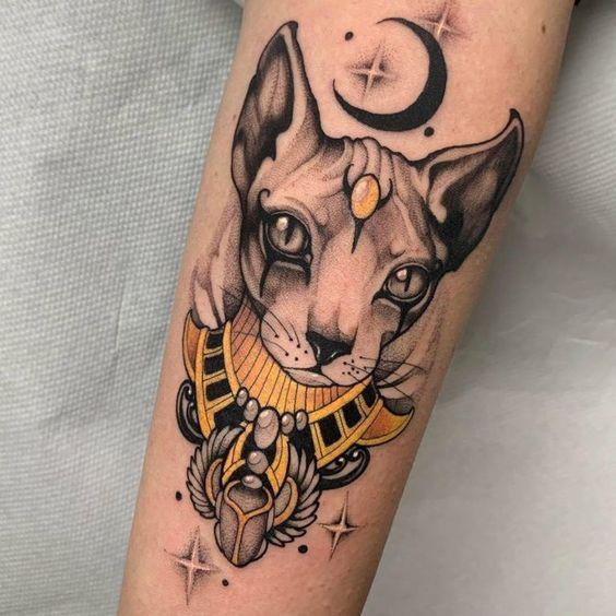 Bastet tattoo on arm