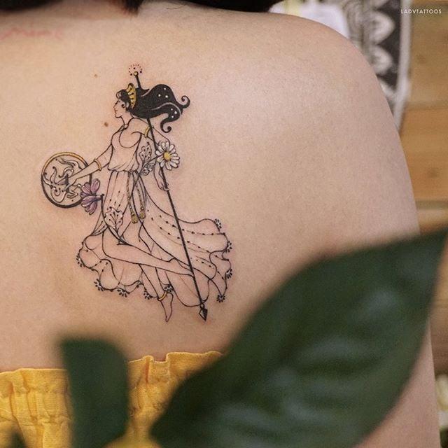 Capricorn constellation tattoo on shoulder blade