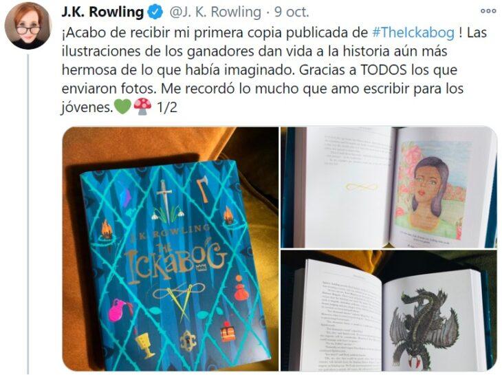 Tweet de J.K. Rowling en el que habla acerca de su nuevo libro 'El Ickabog'