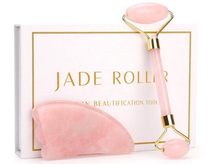 Rodillo de jade de cuarzo rosa