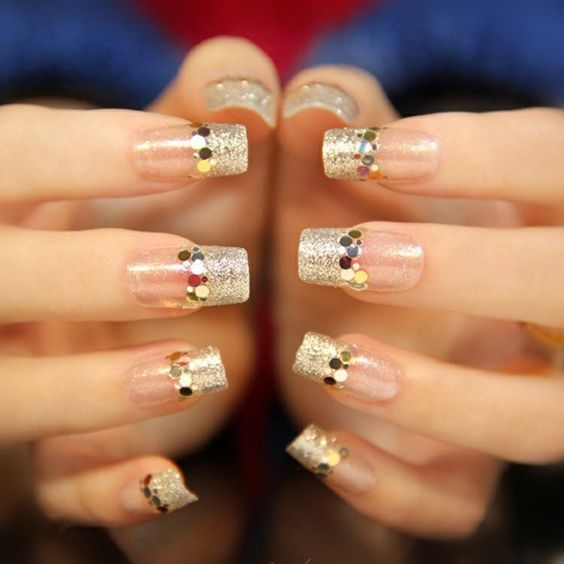 French style manicure in gold color; Glitter nails for Christmas