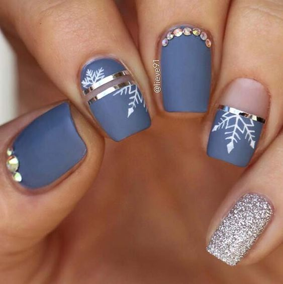 Manicure in gray-blue tone; Glitter nails for Christmas