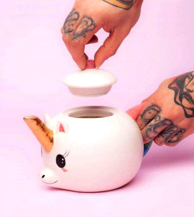 Utensilios bonitos y kawaii de cocina; tetera de cerámica en forma de unicornio