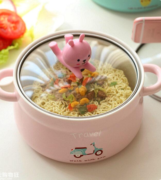 Utensilios bonitos y kawaii de cocina; olla honda tierna de color rosa