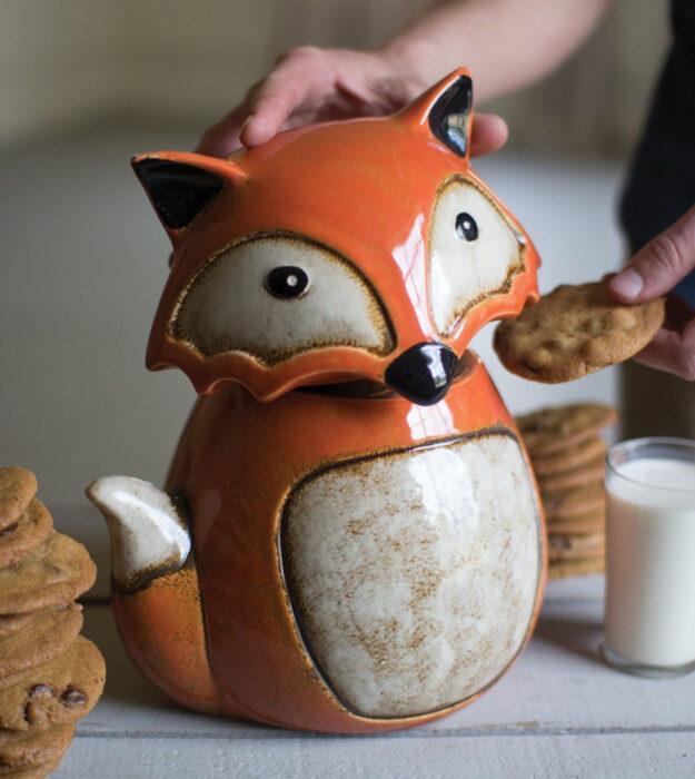 Utensilios bonitos y kawaii de cocina; recipiente para galletas en forma de zorro